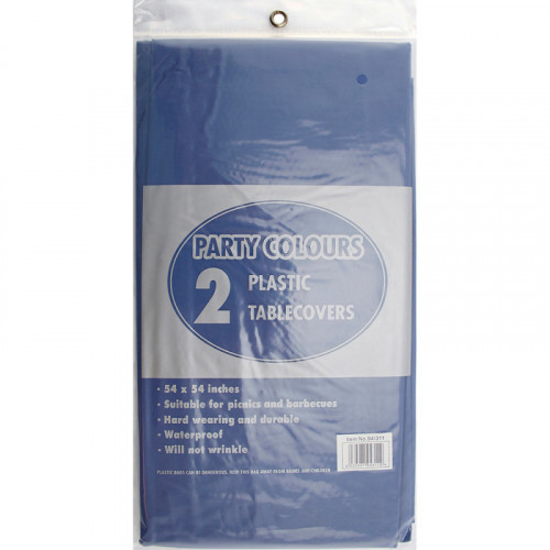 54'' x 54'' Plastic Table Covers Blue 2pc/24