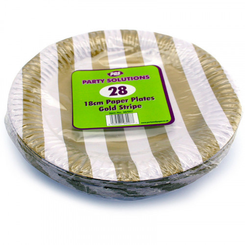 18cm Gold Stripe Paper Plates 28pc/48