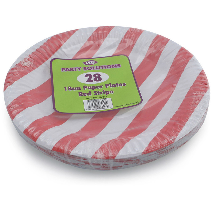18cm Red Stripe Paper Plates 28pc/48