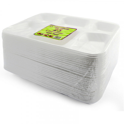31cm Poly Plates 6 Compartments 25pc/12