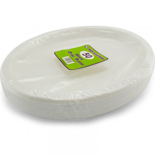 26cm White Plastic Plates Oval 50pc/24