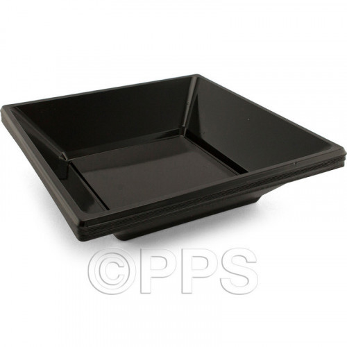 18cm Black Plastic Bowls Square 12pc/36