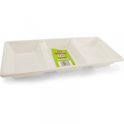 38cm x 17cm White Plastic Serving Tray 3 Compartments 2pc/48