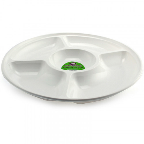 34cm White Plastic Snack Tray 5 compartments 1pc/48