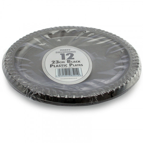 23cm Black Plastic Plates 12pc/40