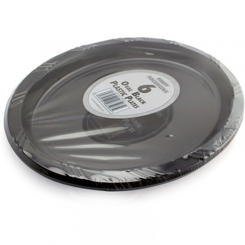 26cm Black Plastic Plates Oval 6pc/40