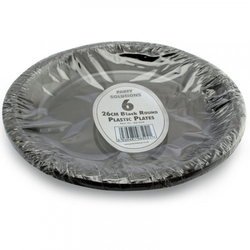 26cm Black Plastic Plates 6pc/40