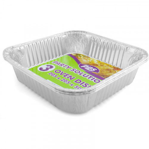 15cm Oven Foil Containers & Lids 205x205x50mm 3pc/24