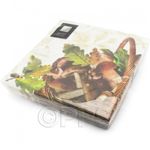 Napkins 3Ply Autumn Mushrooms 33cm 20pc/12