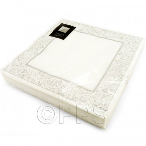 Napkins Design 3Ply Square Silver Border 33cm 20pc/12