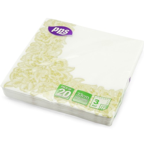 Napkins 3Ply Gold Leaf Border 33cm 20pc/12
