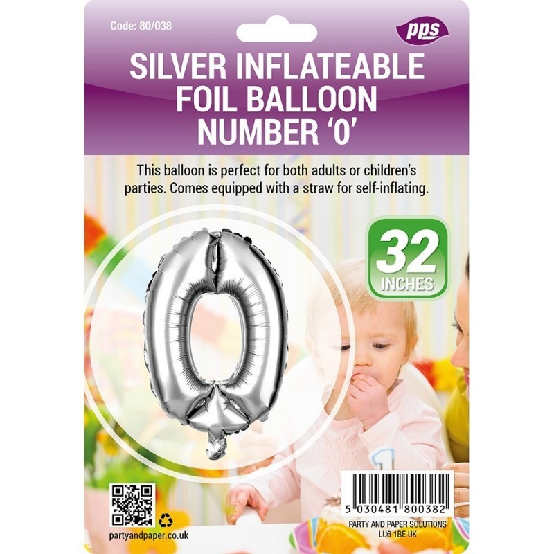 Party Balloon Silver Number 0 1pc/24