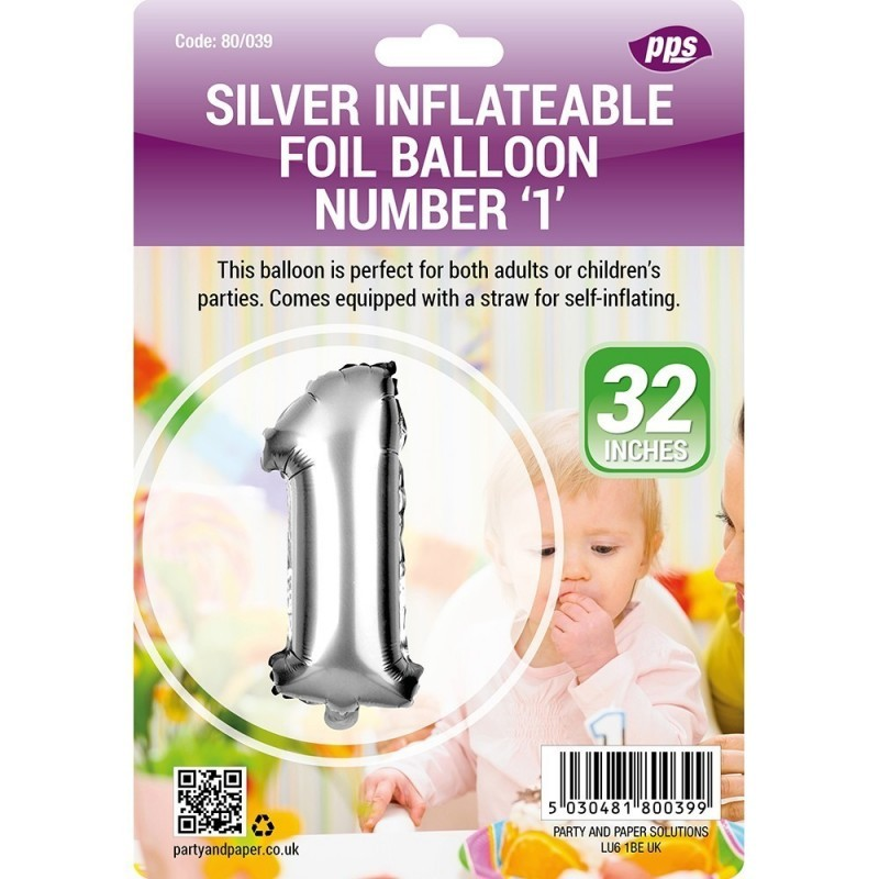 Party Balloon Silver Number 1 1pc/24