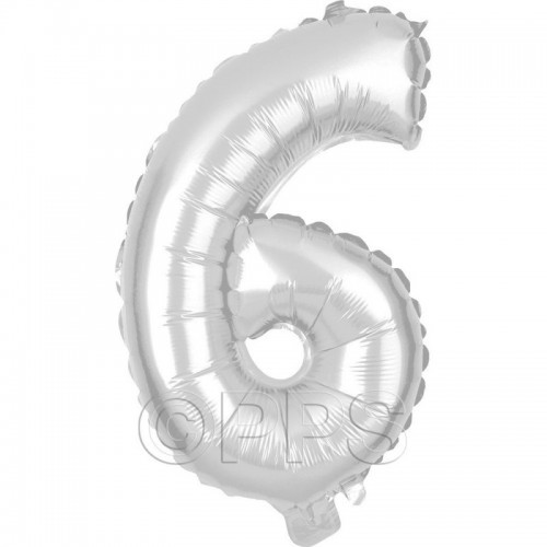 Party Balloon Silver Number 6 1pc/24