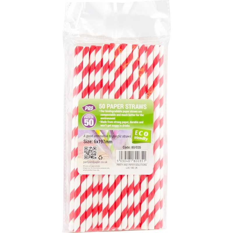 Party Straws Paper 6x197mm 50pc/40