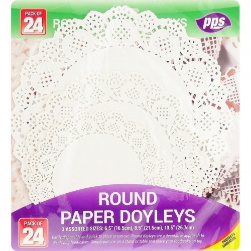 Table Covers Paper Doyleys Round Assorted Sizes 24pc/48