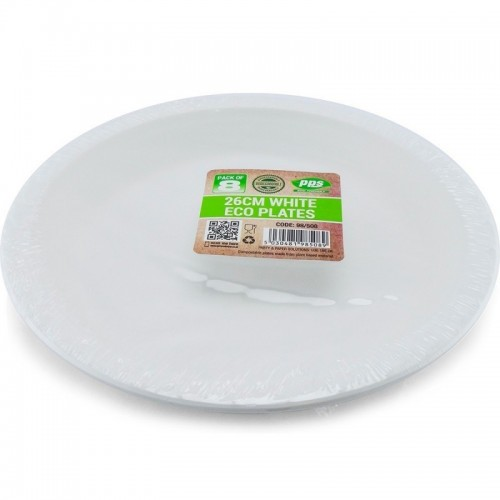 Plates Eco PLA White 26cm Bio Degradable 8pc/36