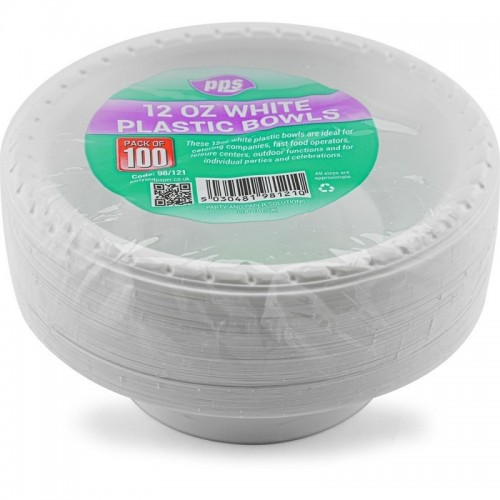 12oz White Plastic Bowl 100pc/12