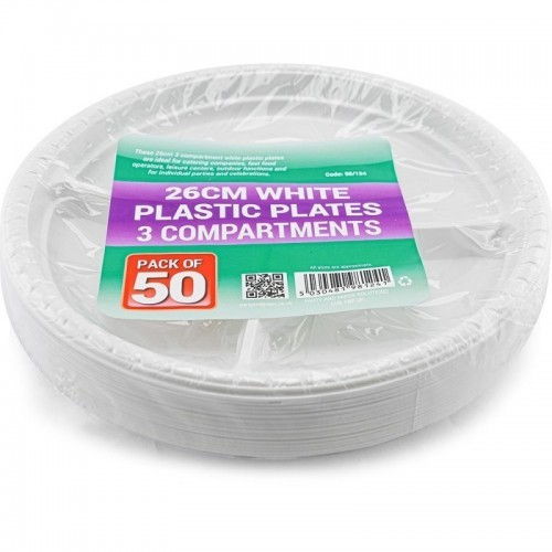 26cm White Plastic Plates 3compartments 50pc/12