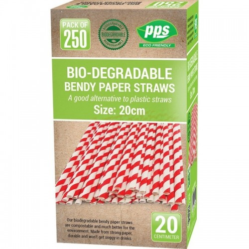 Party Straws Paper Bendy 20cm Bio Degradable 250pc/20