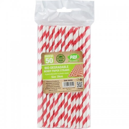Party Straws Paper Bendy 20cm Bio Degradable 50pc/40