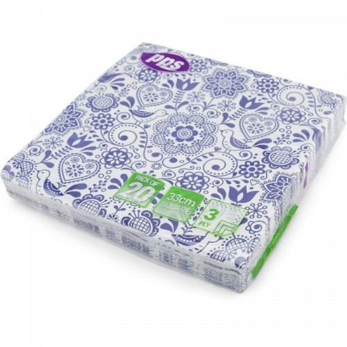 Napkins Design 3Ply Royal Blue 33cm 20pc/12