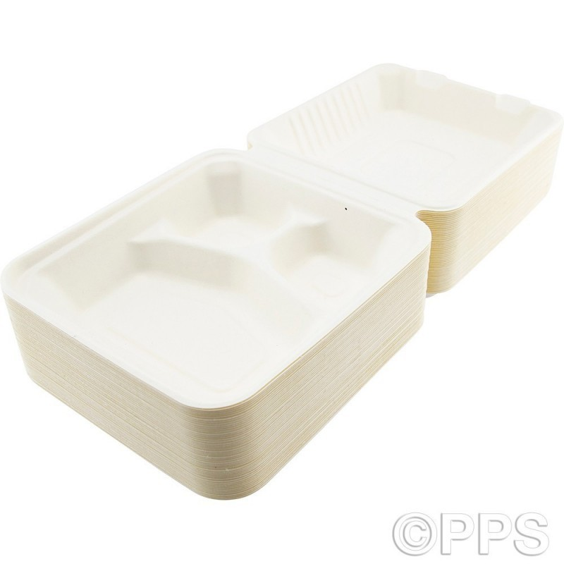 Food Box Bagasse 3 Compartment 1000ml 50pc/4