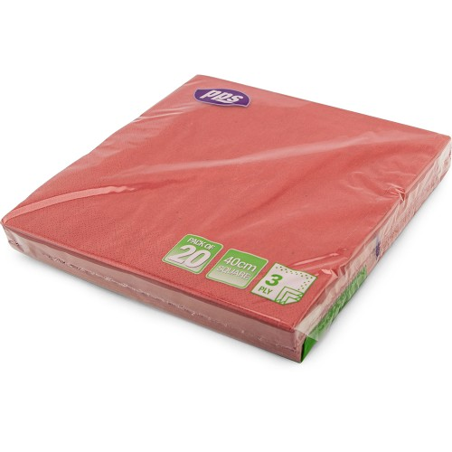40cm 3ply Napkins Red 20pc/12