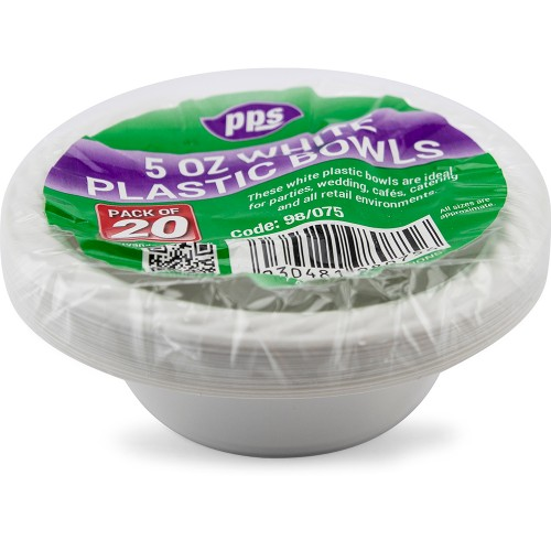 5oz White Plastic Bowl 20pc/40