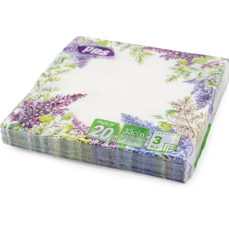 Napkins Design 3Ply Purple Lavender 33cm 20pc/12
