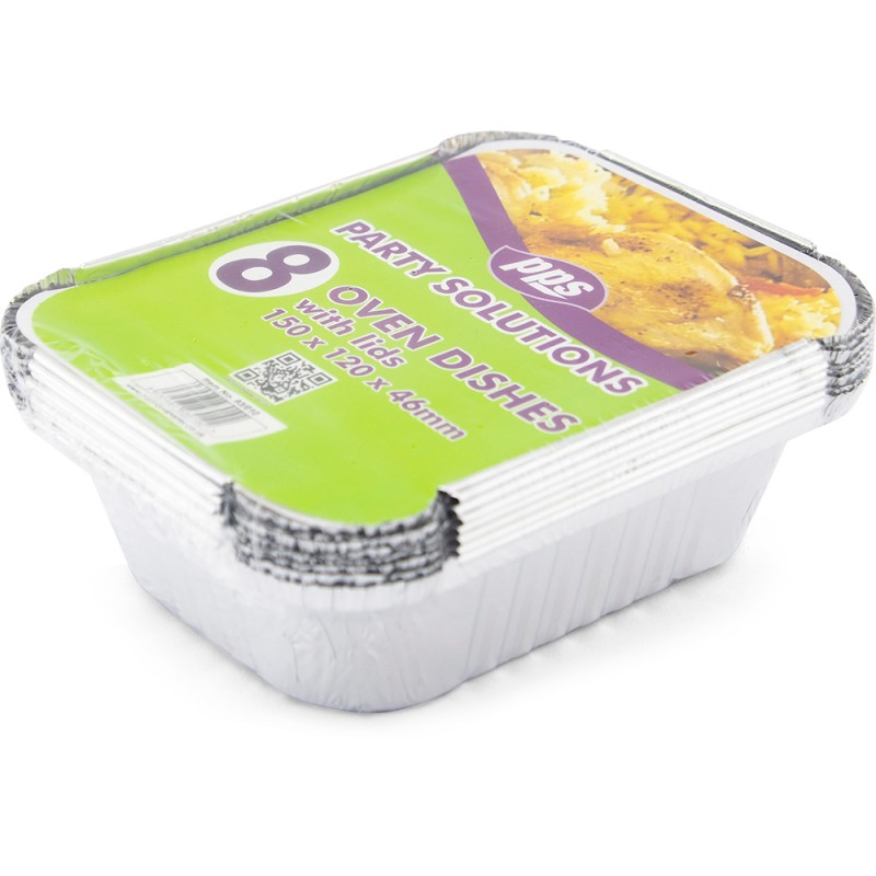 Foil Oven Dishes & Lids Small 150x120x46mm 8pc/24