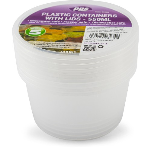 Food Containers & Lids Plastic Round 550ml 16oz 5pc/36