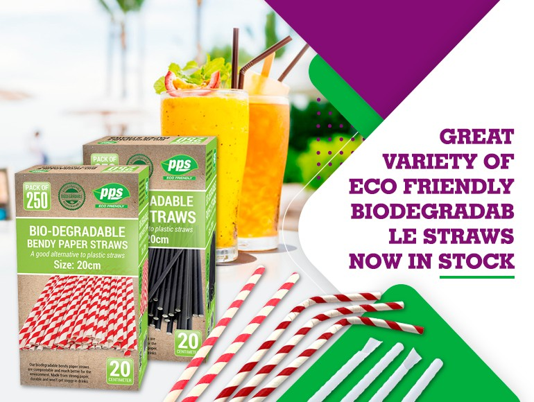 Great variety of Eco Friendly biodegradable straws now in stock